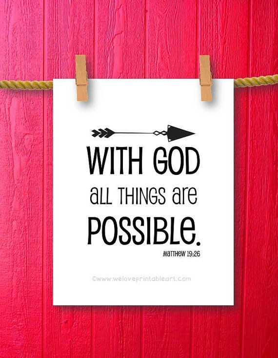 Bible Verse Art - Arrow Art - Scripture Art - Inspirational Quote Arrow Art - Printable Art Sign - With God All Things Are Possible - Bible Quotes - Christian Quotes by WeLovePrintableArt.com