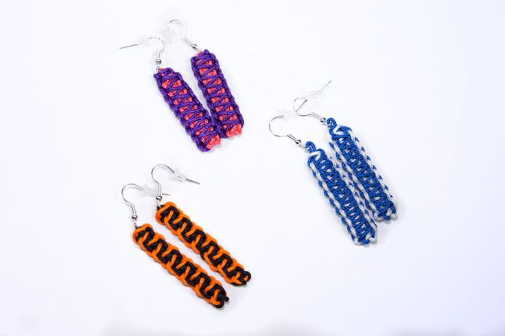 Earrings 'Accents', microcord by CobraQueensGift on Etsy