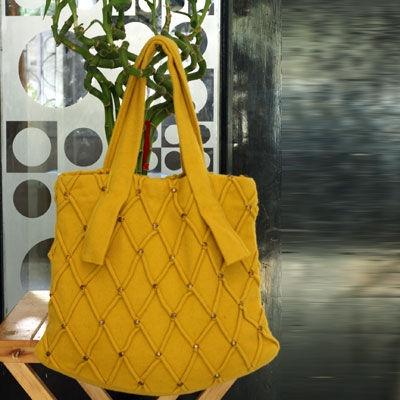 Bright yellow wool tote bag!