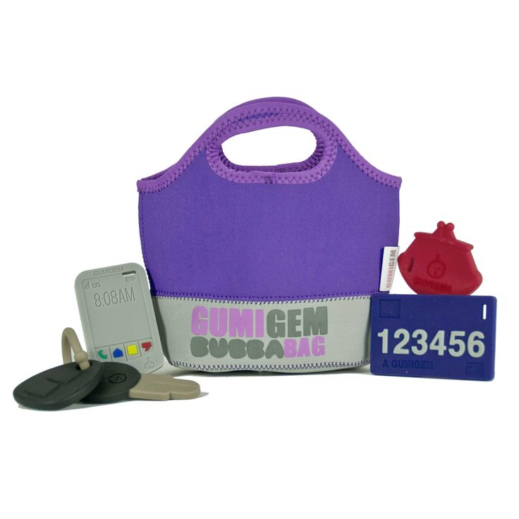 GUMIGEM Bubba Bag teething toys. Regain control of your car keys! Four BPA free silicone teething toys in a bag of their very own. Car keys, smart phone, purse and credit card, $44. http://www.gumigem.com.au/ourshop/prod_2979838-Bubba-Bag.html