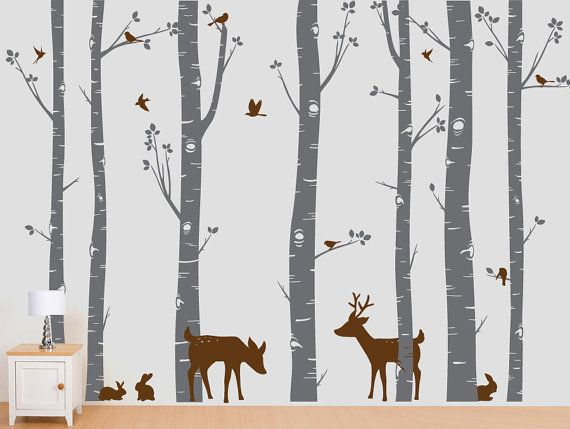 Birch Trees Vinyl Decal, Birch Trees, Birch Forest, Birch Tree Wall Decal with Deer and Bunnies for Birch Nursery, Kids or Childrens Room on Etsy, $85.00