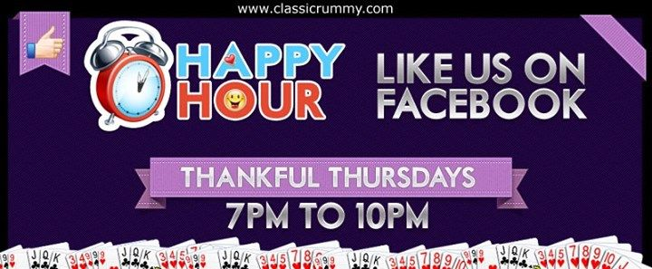 "ENJOY ""THANKFUL THURSDAYS"" with FB HAPPY HOURS offer!!!  Starting from 7 pm till 10 pm...Avail this special offer before it expires.  Offer valid for limited time... Hurry.........  https://www.facebook.com/ClassicRummy/app_174961479209942"