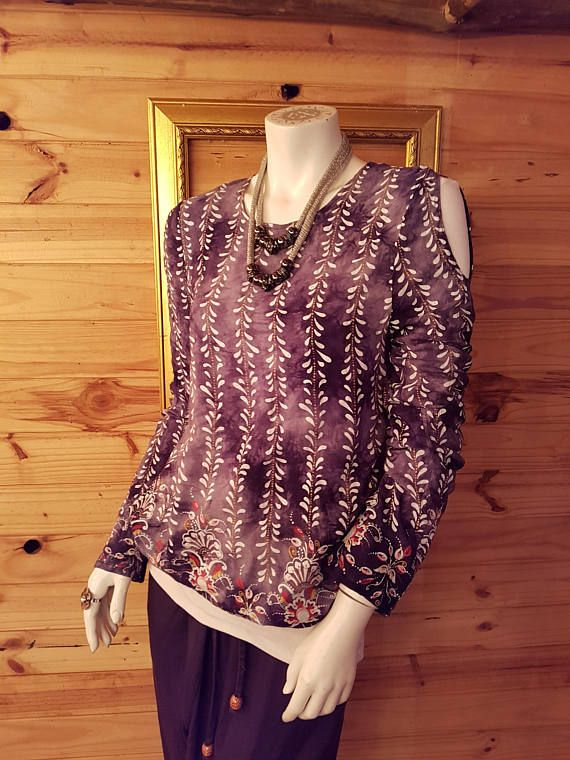 Open Back Cold Shoulder Batik Top