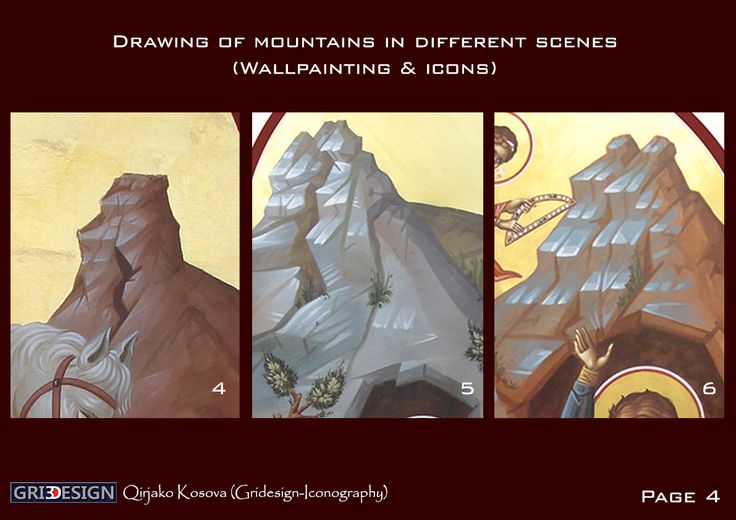 Drawing of mountains in different scenes (Wallpainting & icons) M.Iconog.Qirjako Kosova (Gridesign-Iconography)