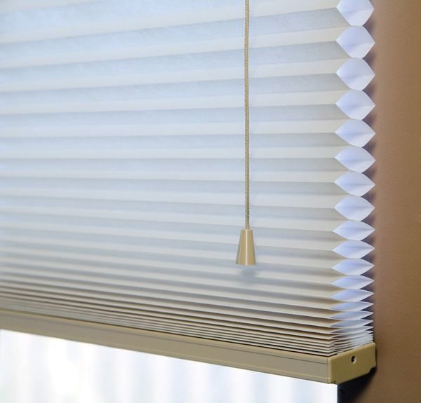 The unique honeycomb-shaped cells in these cellular blinds help keep a more constant indoor temperature, saving energy costs.