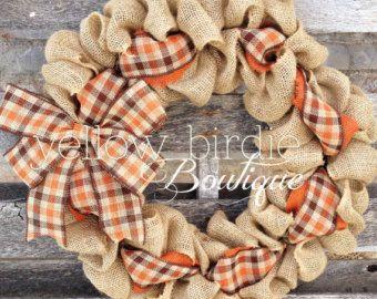 Fall Burlap Wreath Black and Orange by YellowBirdieBoutique