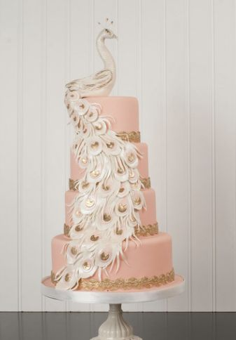 Elegant pink peacock wedding cake