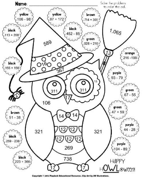 Math Coloring Sheets On Classroom Freebies Halloween Owl Sheet