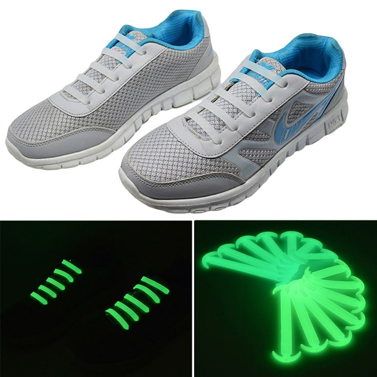 14 pcs/pack Noctilucent Silikon Tali Sepatu Tali Sepatu Tali Sepatu Tanpa Dasi Unisex Elastis Untuk Pria Wanita Dalam Gelap Fluorescent Flash Tali Sepatu