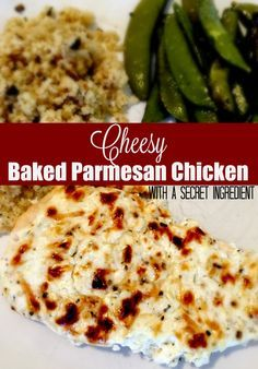 This cheesy baked Parmesan chicken is sooo good! Perfect dinner and this cheesy baked Parmesan chicken is made with a secret ingredient yok⚃⚃ to will never guess