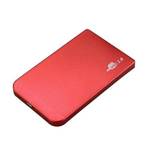 """Portable mince 2,5"""" USB 2.0 Boîtier Externe pour 2,5"""" IDE HDD et SSD Disque Dur avec USB 2.0 Càble,Installation sans Outil rouge: Cet…"""