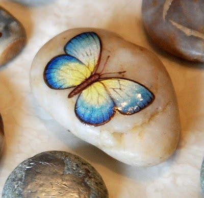 Transfer scrap booking images and sayings onto stones