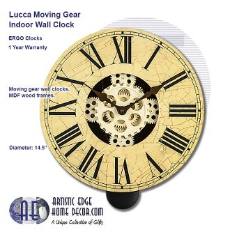 ERGO Lucca Moving Gear Wall Clock