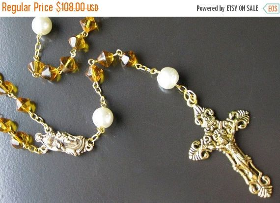 EASTER SALE Gold Rosary Necklace. Catholic Rosary in Yellow Amber and Pearl. Handmade Rosaries by Gilliauna by Gilliauna from Bits n Beads by Gilliauna. Find it now at http://ift.tt/1Mudtvf!