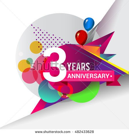 3 years Anniversary logo, Colorful geometric background vector design template…