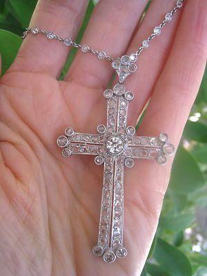 "Art Nouveau Art Deco Plat Diamond ""Cross"" Pendant Spectacular | eBay"