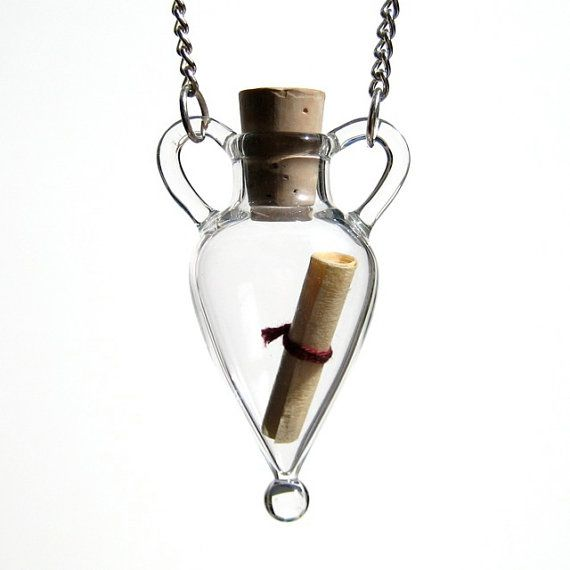 Message in a Bottle Necklace by kivaford on Etsy (which can be used as a wearable 'vase')