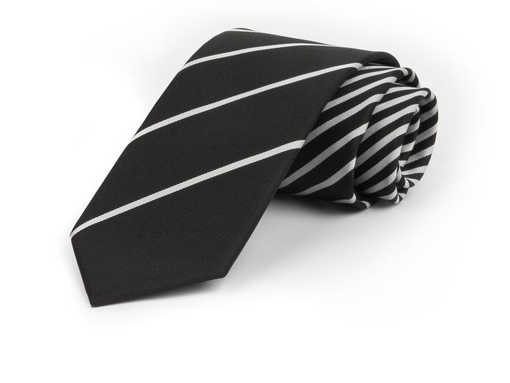Schmale Krawatte mit feinen Streifen in weiß und schwarz - etado.de   Firmen-Krawatten