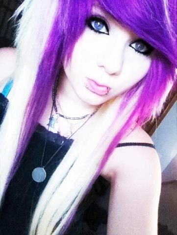 Blonde And Purple Scene Hair 97