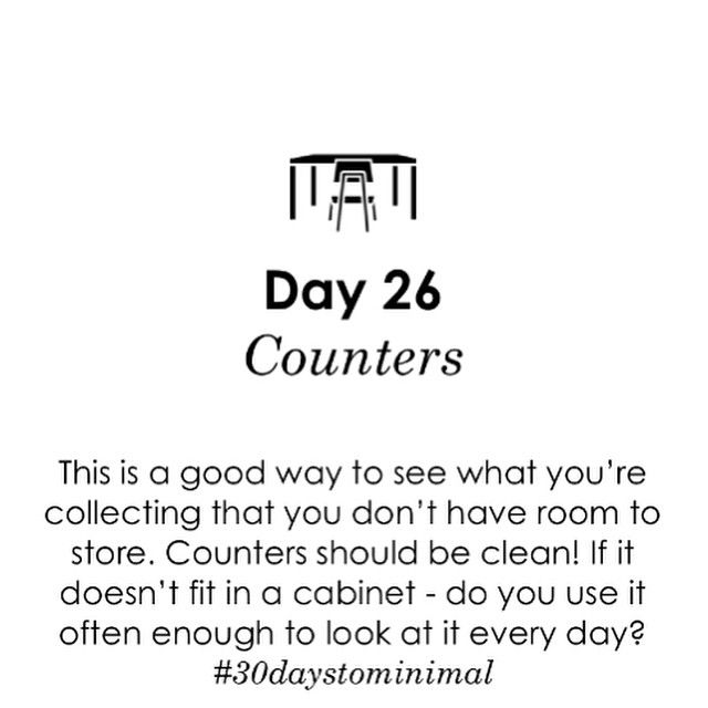 Day 26 of #30daystominimal: counters! Counters are right in your line of sight and clutter has a disproportionate impact on the feel of a room. Clean those countertops! Any tips for how you keep them clutter free?