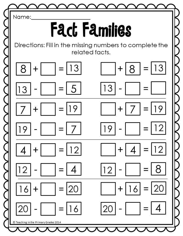 Fact Families Fact Practice Kids Math Worksheets Math Worksheets Thanksgiving Math