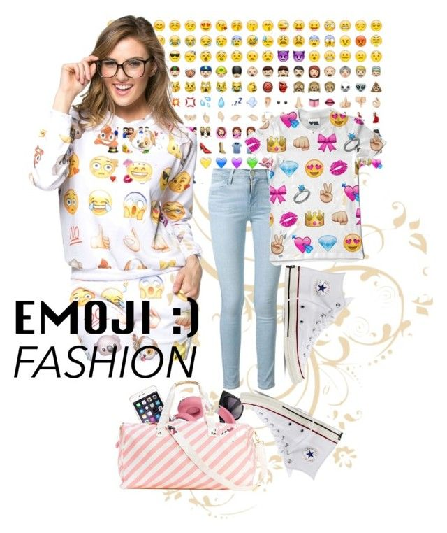 """""""Emoji"""" by lozforlife on Polyvore featuring Frame Denim and Converse"""