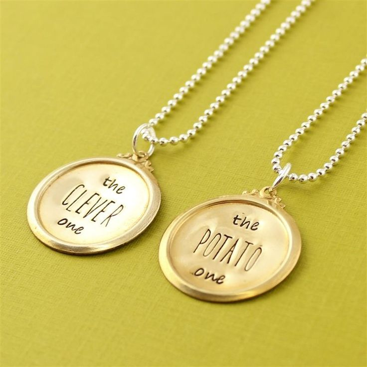 """The clever one"" and ""The potato one"" necklace set. That is brilliant, haha. Doctor Who reference, Doctor/Strax quote."