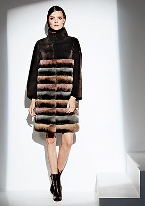 GIULIANA TESO Mocha Dyed Sheared Mink Fur Coat with Multi-Color Dyed Chinchilla Bodice