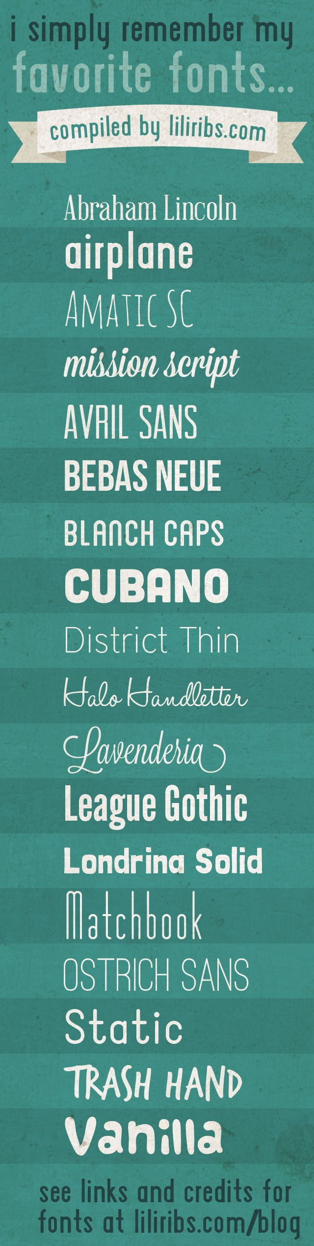 My favorite fonts! See links for fonts at liliribs.com/blog