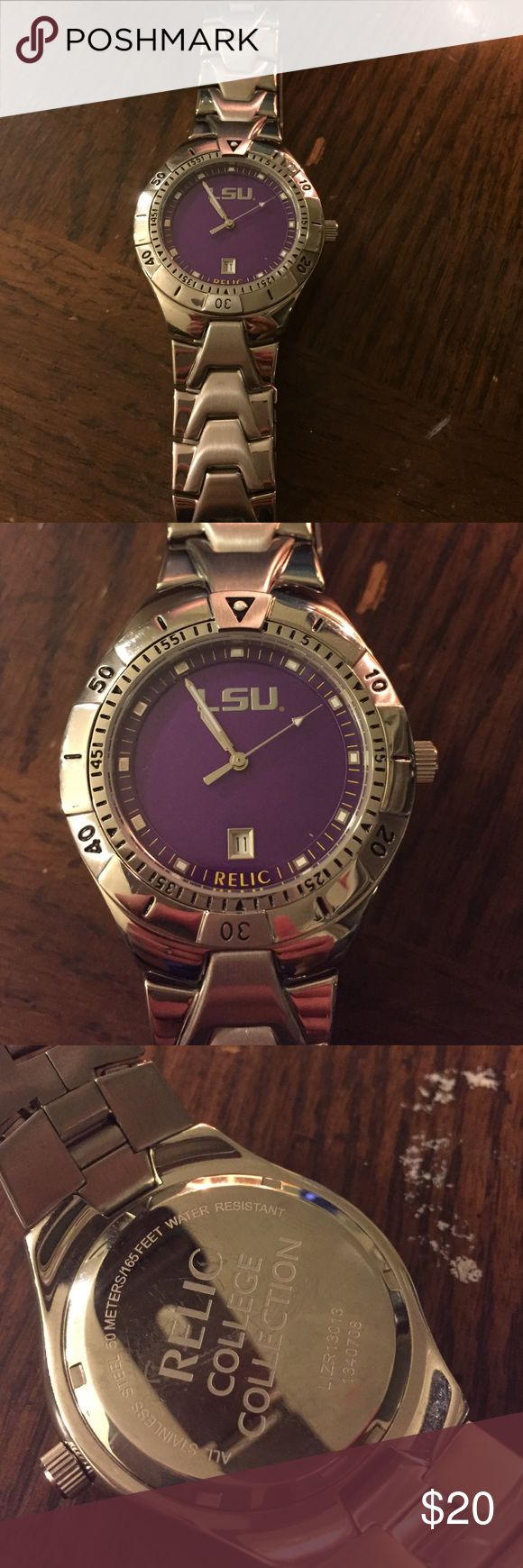 LSU Relic watch Chrome Relic watch with LSU logo! The battery doesn't work, but everything else is perfect Relic Accessories Watches