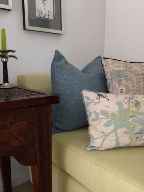 A casual corner of the Farm Cove renovation. Recovering an existing daybed and working with a family heirloom table we updated with fabrics in soft colours #cushions #daybed #familyheirloom #photos #jamesdunlop #interiordesign #designer