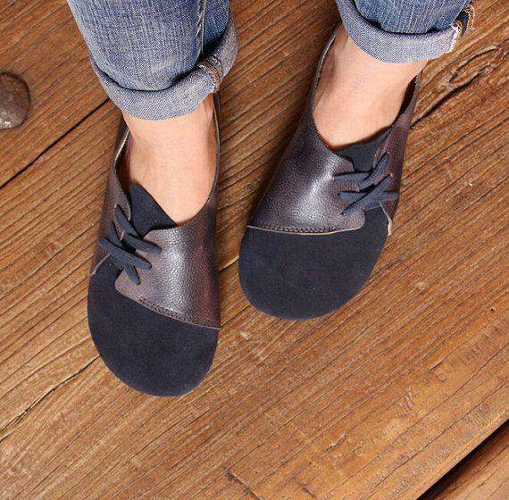 Handgemaakte vrouwen schoenen Dark Blue Oxford schoenen