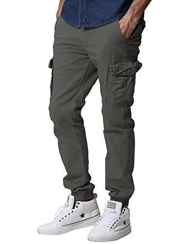 Match Men's Regular Fit Chino Jogger Cargo Pant (34W x 33L 6539 Army gray)