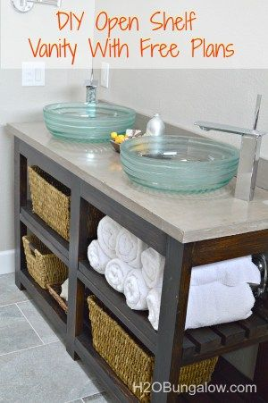 I built my own DIY Vanity with open shelves for about $100. You can too! Download my free plans. This woud also make an awesome kitchen island! www.H2OBungalow.com #woodworking #freebuildplans # buildit