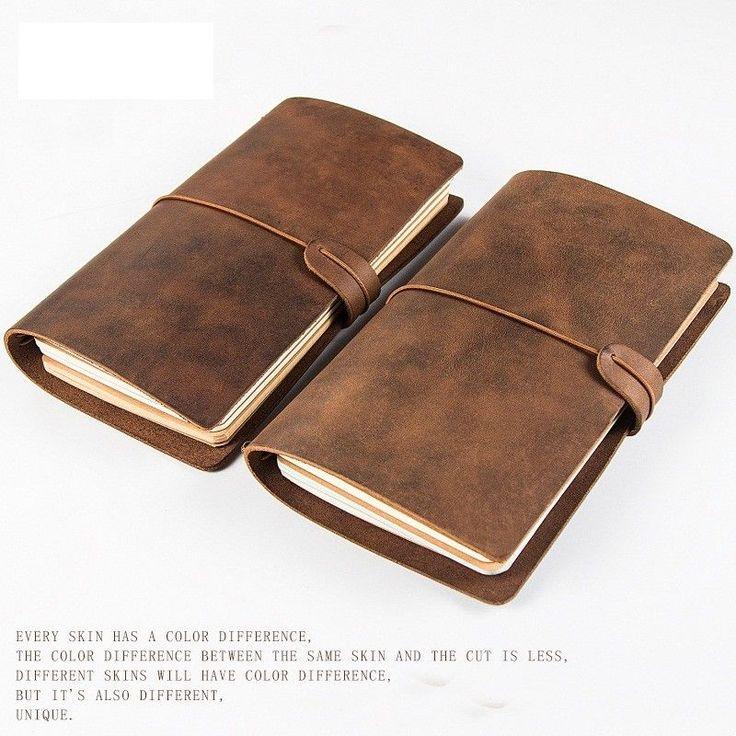 100% Vintage Genuine Leather Notebook Diary Travel Journal Planner Sketchbook #craftwriting #Vintage