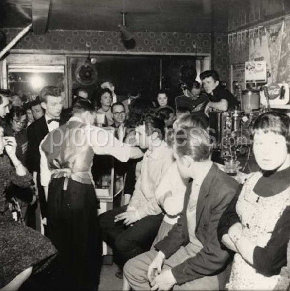 Tommy Steele and a host of early rockers made their first appearances at the 2i's coffee bar at 59 Old Compton Street in London's Soho district, seen here in 1958