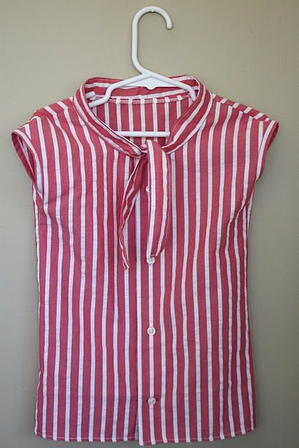 refashion a men's shirt into this adorable neck tie top for girls  by www.thetrainintocrazy.com