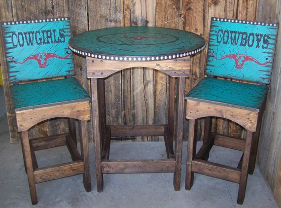 Rustic Western Round Kitchen table and chairs, Dinning table and chairs, Pub Table with Bar Stools