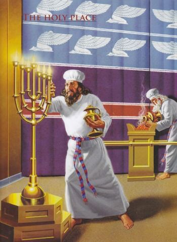 The Rose Guide to the Tabernacle of Moses depicts priests working within the Holy Place.