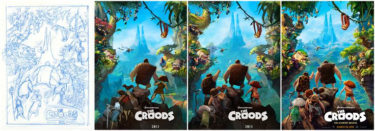 From sketch to digital print, take a look at the evolution of The Croods poster.