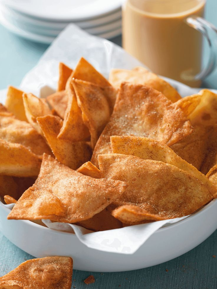 Padma Lakshmi's Sugar & Cinnamon Chips: These sweet and spicy tortilla chips are incredible over ice cream or served alongside a rich Chai Latte. Click through for this  recipe and more delicious chai latte pairings.