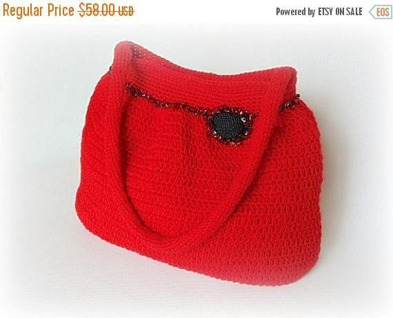 Crochet handbag red handbag crochet shoulder bag crochet
