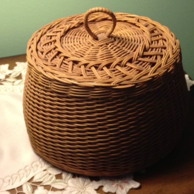 Lidded sewing basket from reed - Nettle Creek Basketry ~ one of my first weaving projects in the 80s, at Greenfield Village, Dearborn, Michigan