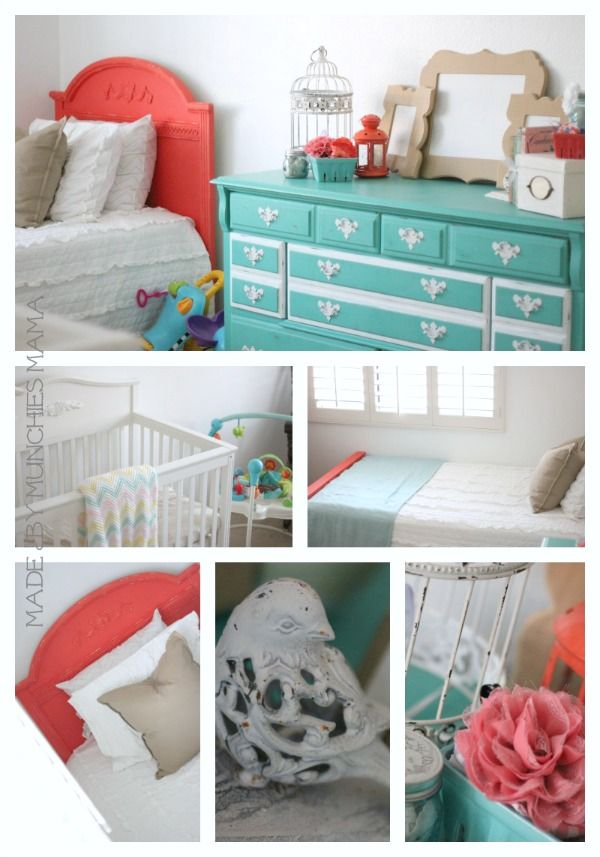 Made By Munchies Mama: Time to Focus: Nursery Inspiration with Land of Nod.  Coral and Mint Baby Girl room.
