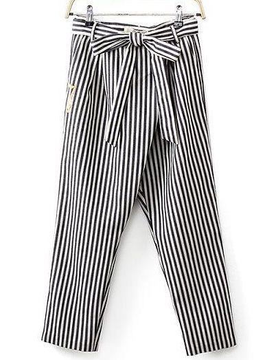 gestreifte Hose mit Schleife, schwarz-weiß 18.98