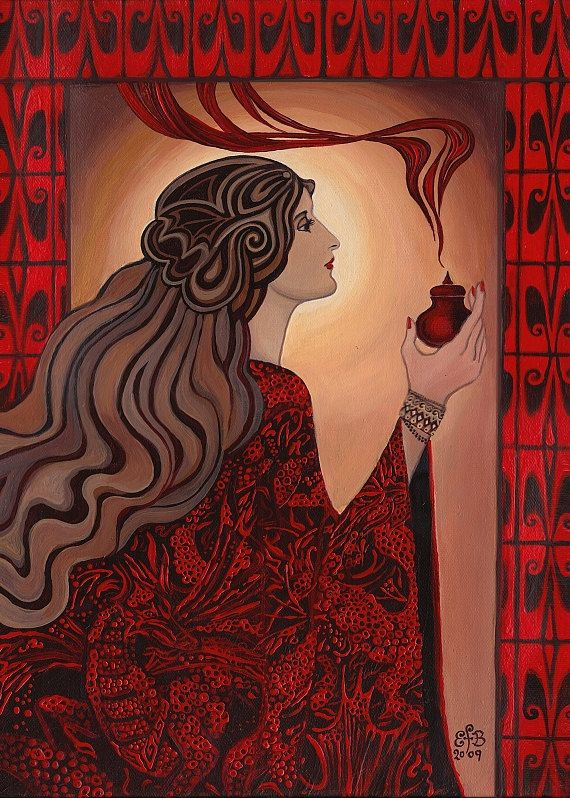 Circe ACEO Art Nouveau Pagan Witch Goddess Mini by EmilyBalivet, $3.00