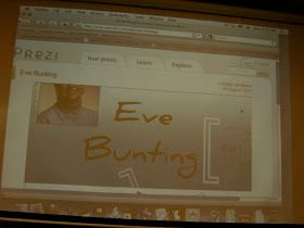 We began with The Memory String . I love this story ! Before reading, we looked at a Prezi about Eve Bunting. I love Prezis so much more ...