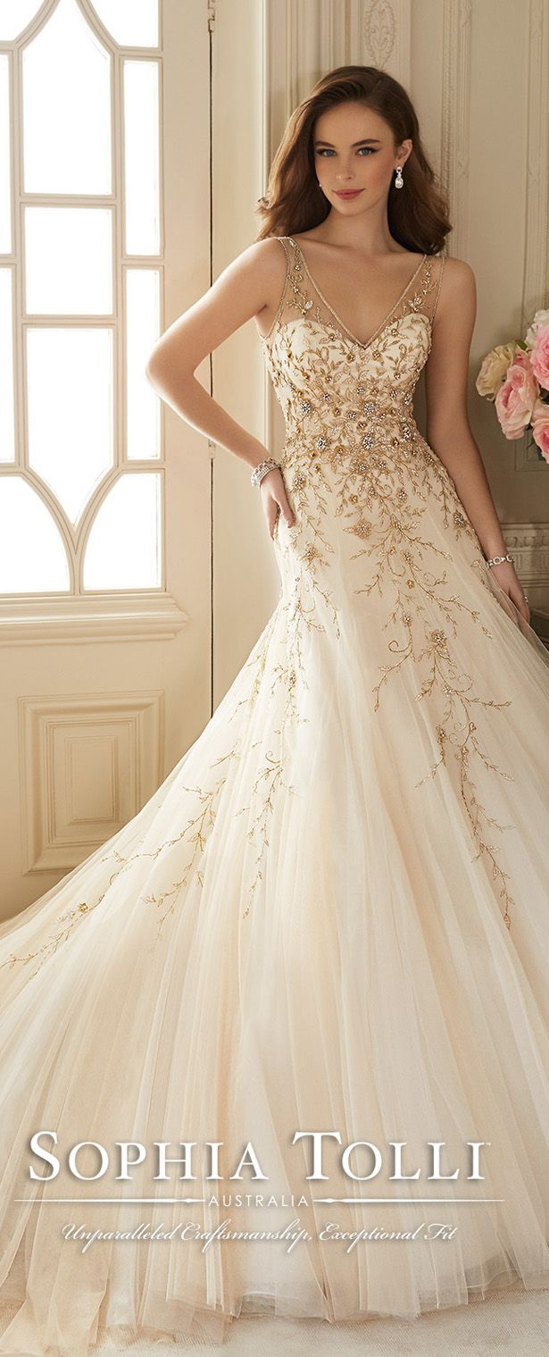 25 best ideas about gold wedding dresses on pinterest for White and gold wedding dresses
