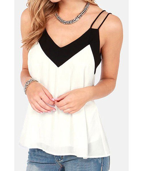 Stylish Spaghetti Strap Sleeveless Color Block Chiffon Women's Tank Top