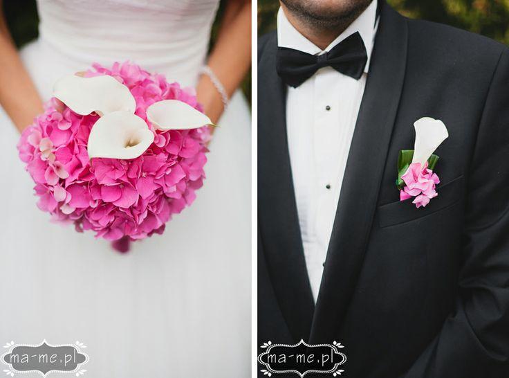 Różowe hortensje i białe kalie / Pink hydrangea and white calla lilies